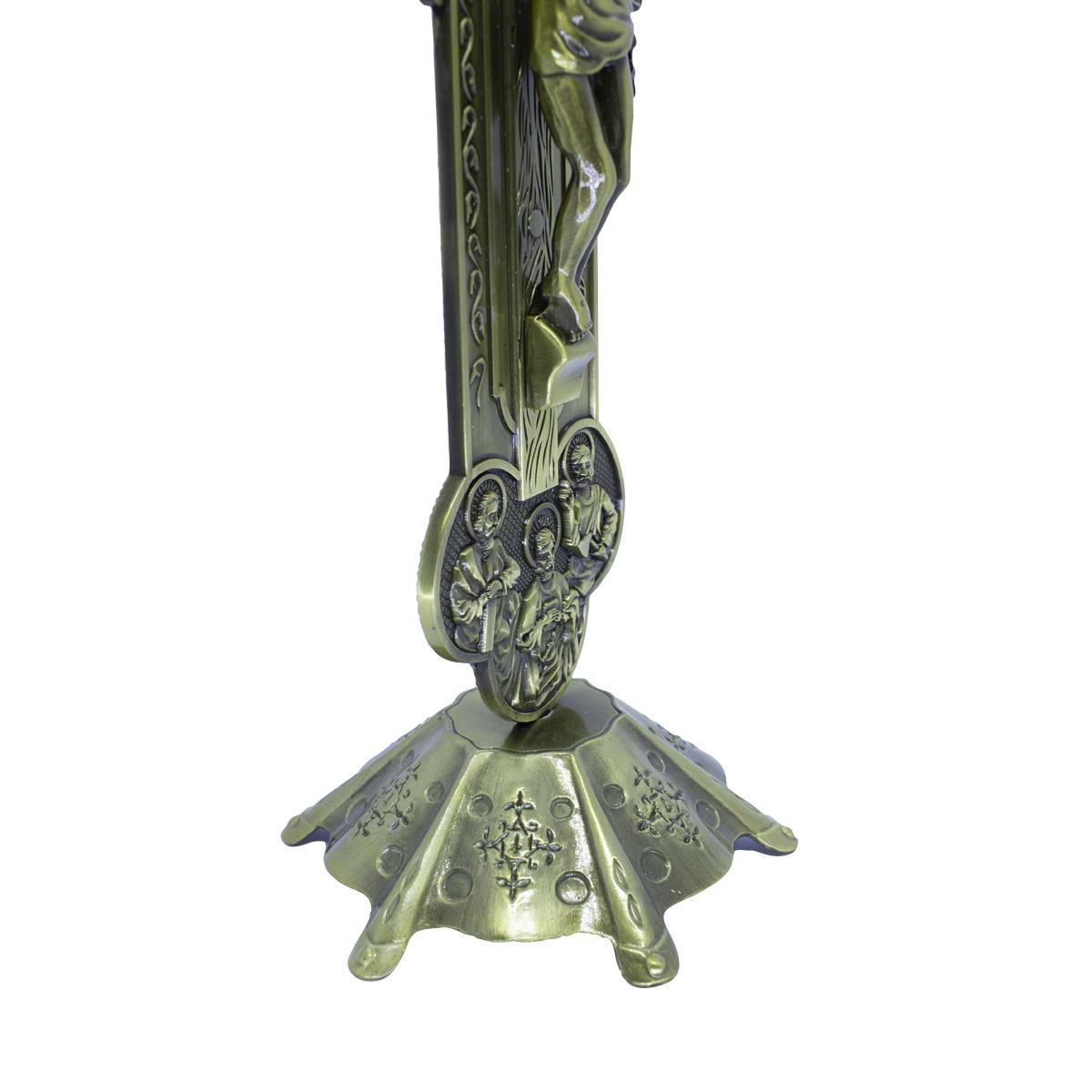 Crucifixo com Pedestal de Mesa Detalhes nas Pontas 30 cm PV