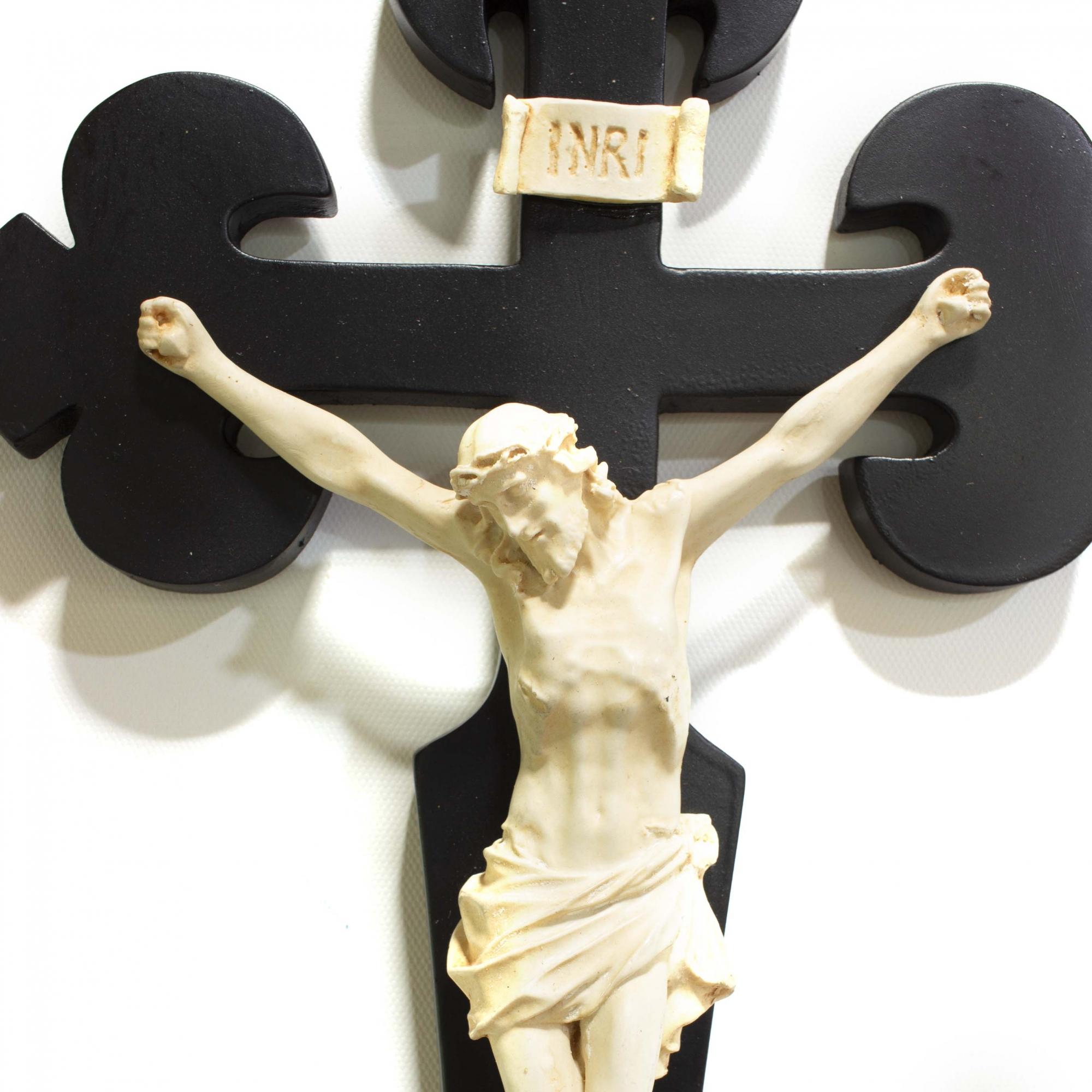 Crucifixo Cruz Santiago em Resina Preto 38cm Chapado
