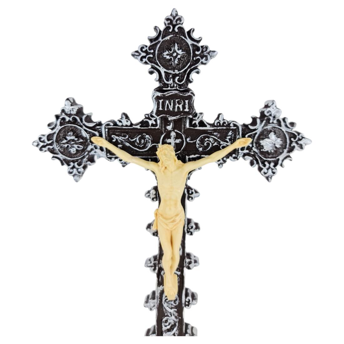 Crucifixo de Mesa Barroco Estilo Italiano 28cm PR
