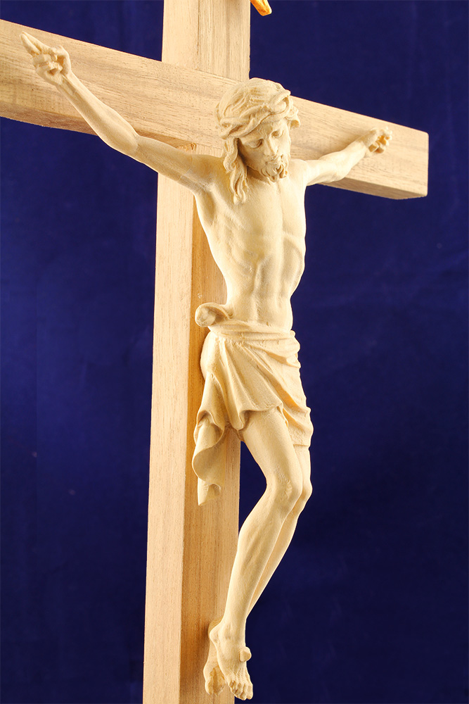 Crucifixo de Mesa com Base - Madeira Esculpida 40cm