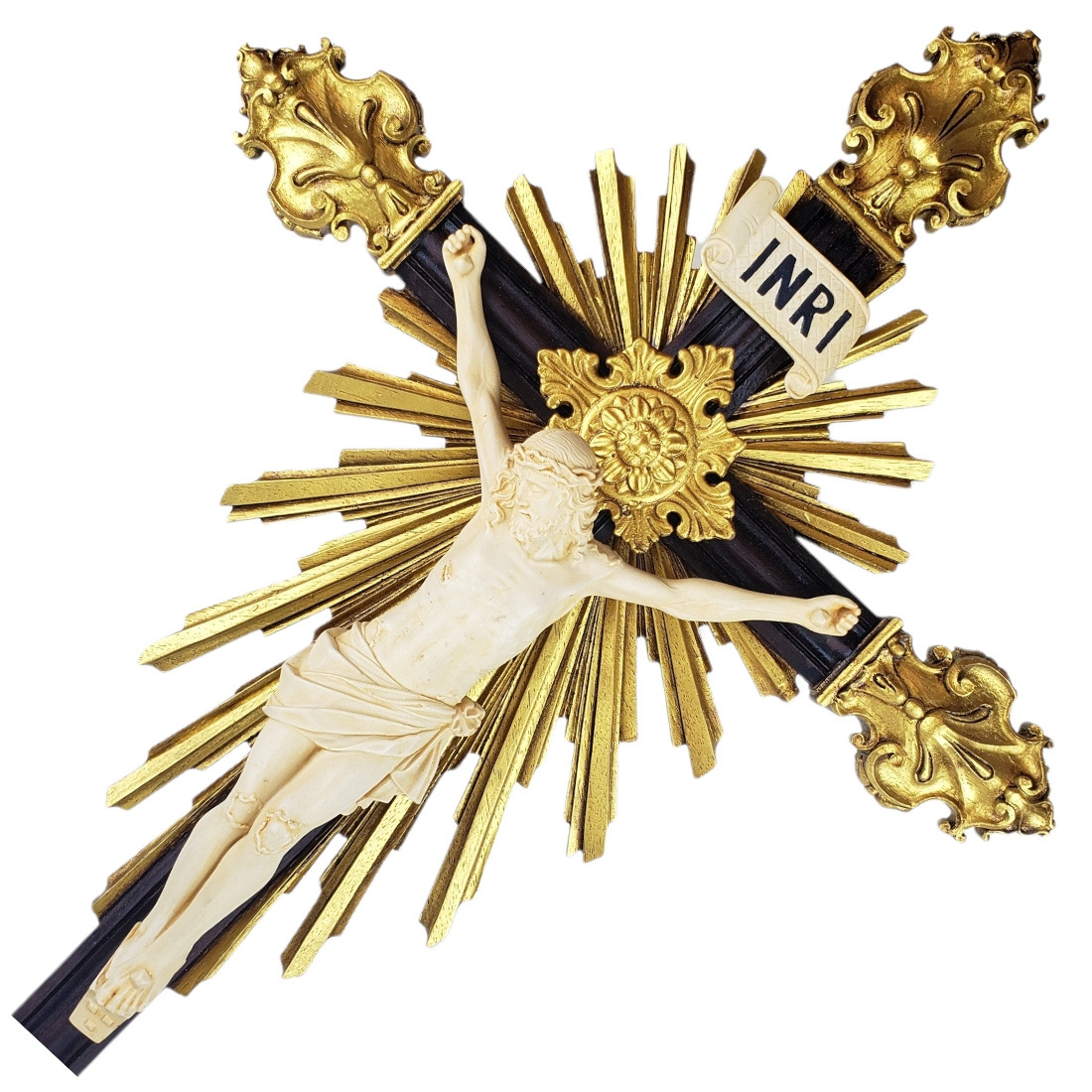 Crucifixo de Mesa Em Resina Barroco Estilo Antigo Cor Marfim