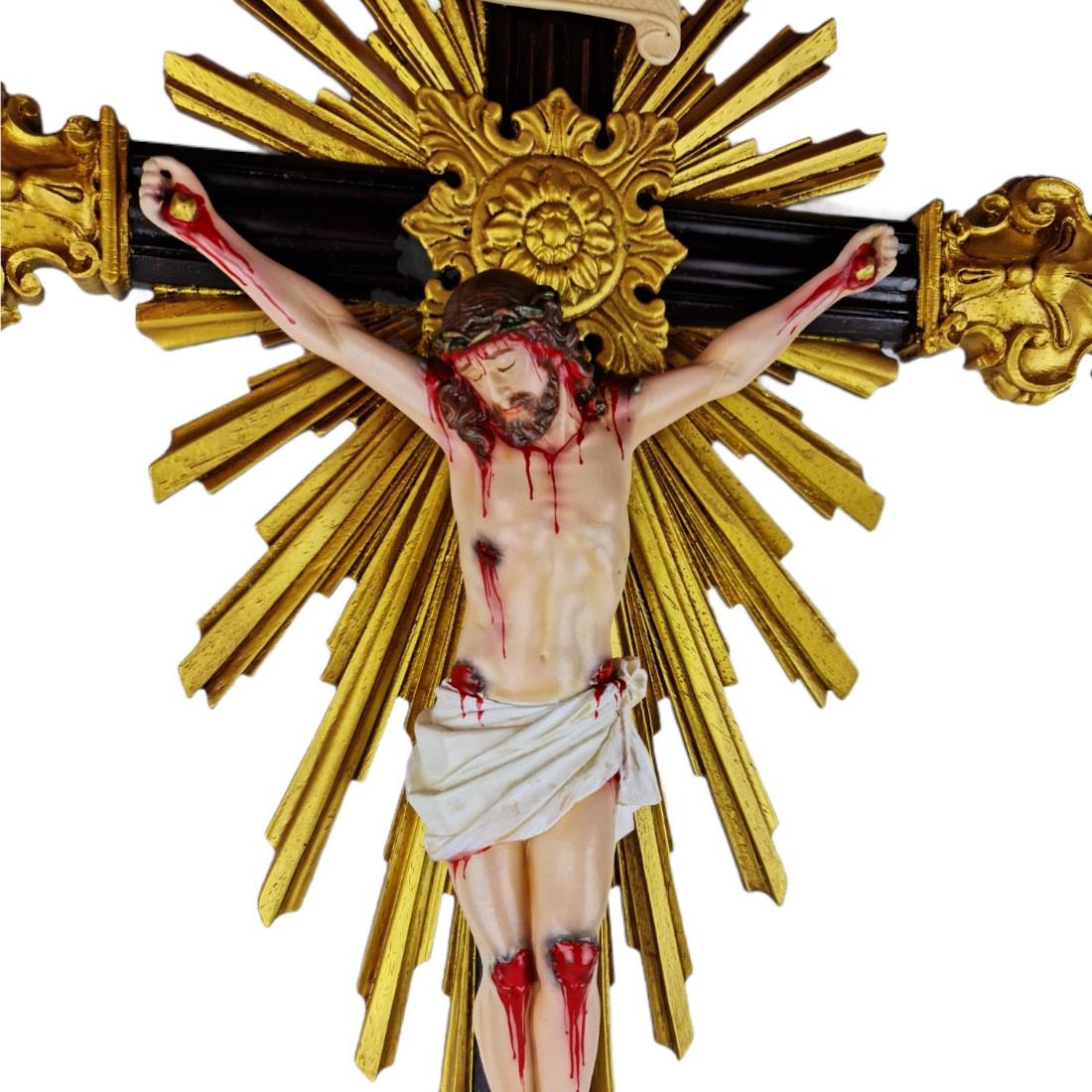Crucifixo de Mesa Em Resina Barroco Estilo Antigo Policromado 73cm