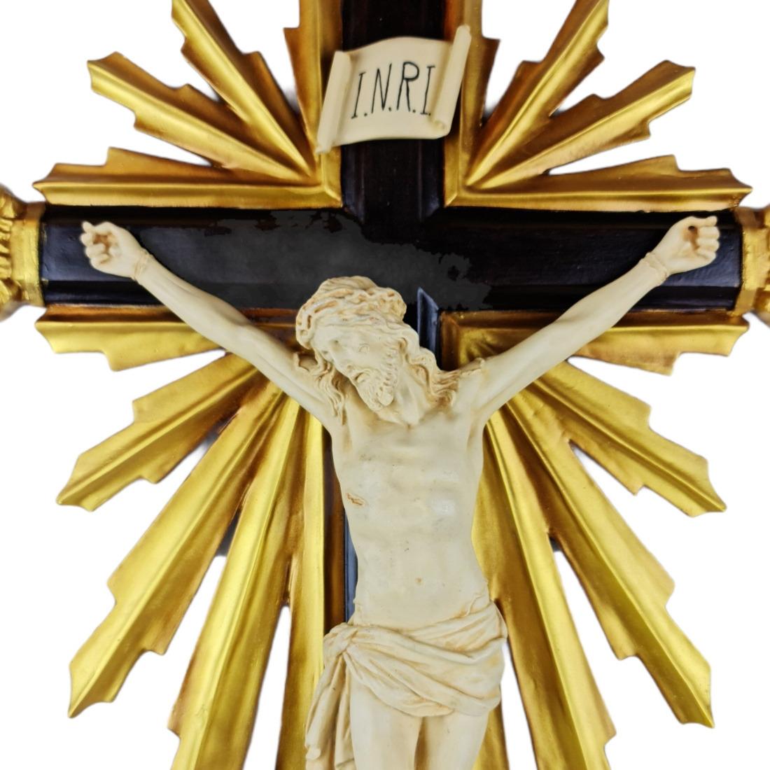 Crucifixo de Mesa Resplendor Barroco Estilo Antigo Cor Marfim 86cm