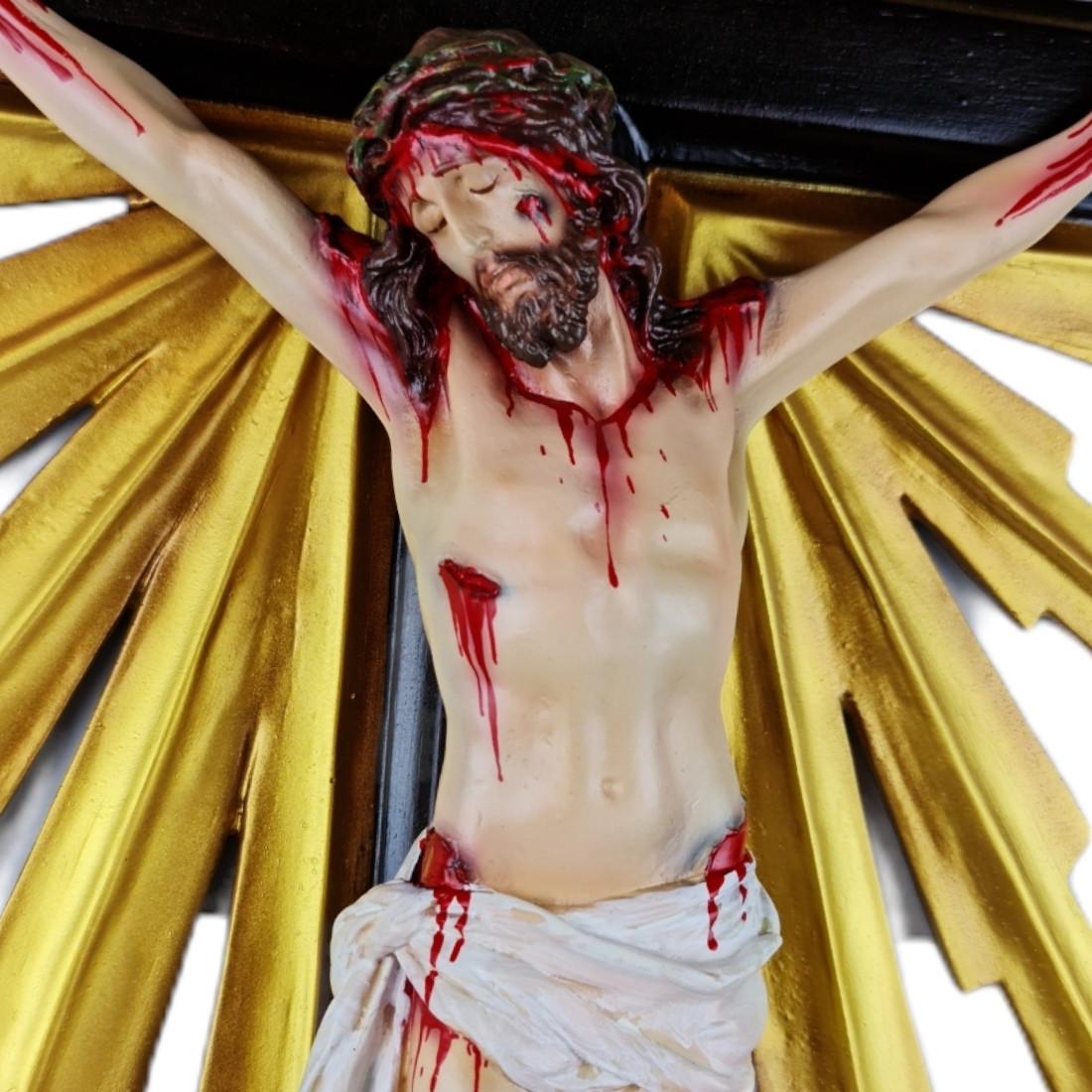 Crucifixo de Mesa Resplendor Barroco Estilo Antigo Policromado 86cm