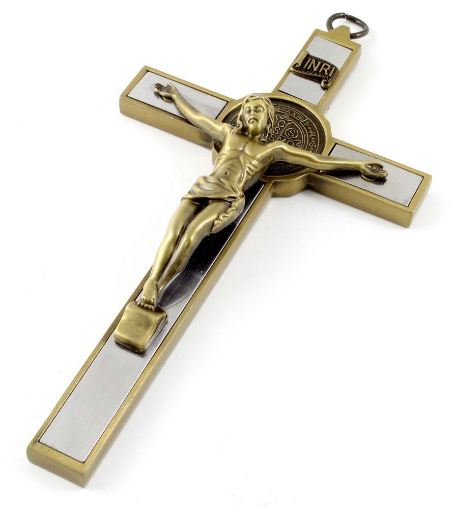 Crucifixo de Parede com Medalha de São Bento 17 cm