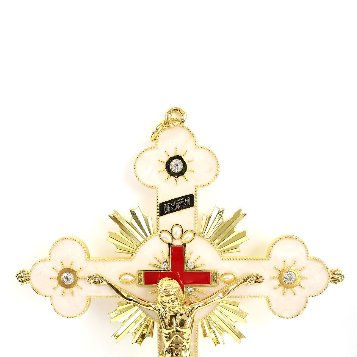 Crucifixo de Parede Detalhes Com  Strass e Madrepérola 27CM
