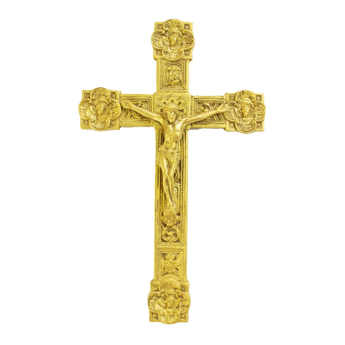 Crucifixo Estilizado C/ Anjos nas Pontas 26cm
