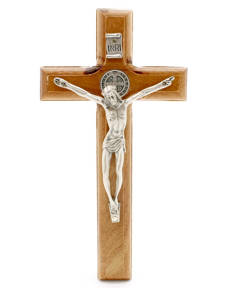 Crucifixo Madeira com Medalha de São Bento - Parede 17cm