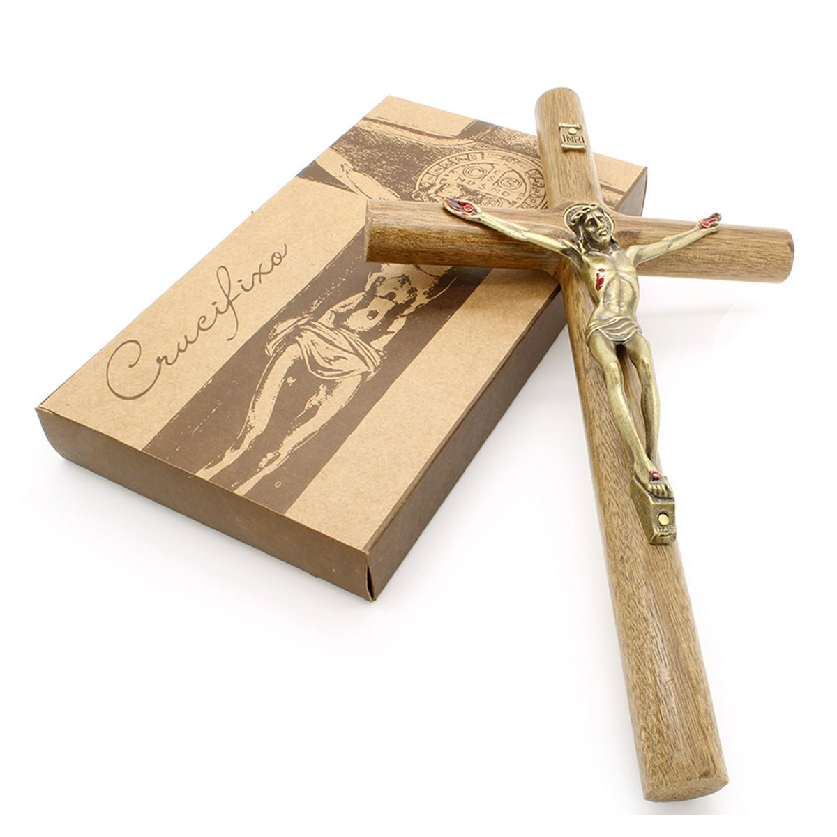 Crucifixo Madeira Com Medalha de São Bento - Parede 26 cm