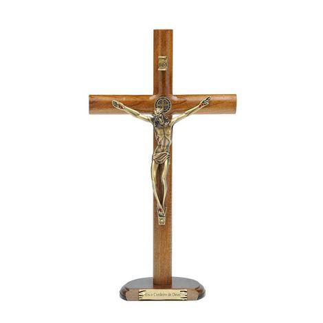 Crucifixo Madeira Com Medalha de São Bento - Parede ou Mesa 26 cm
