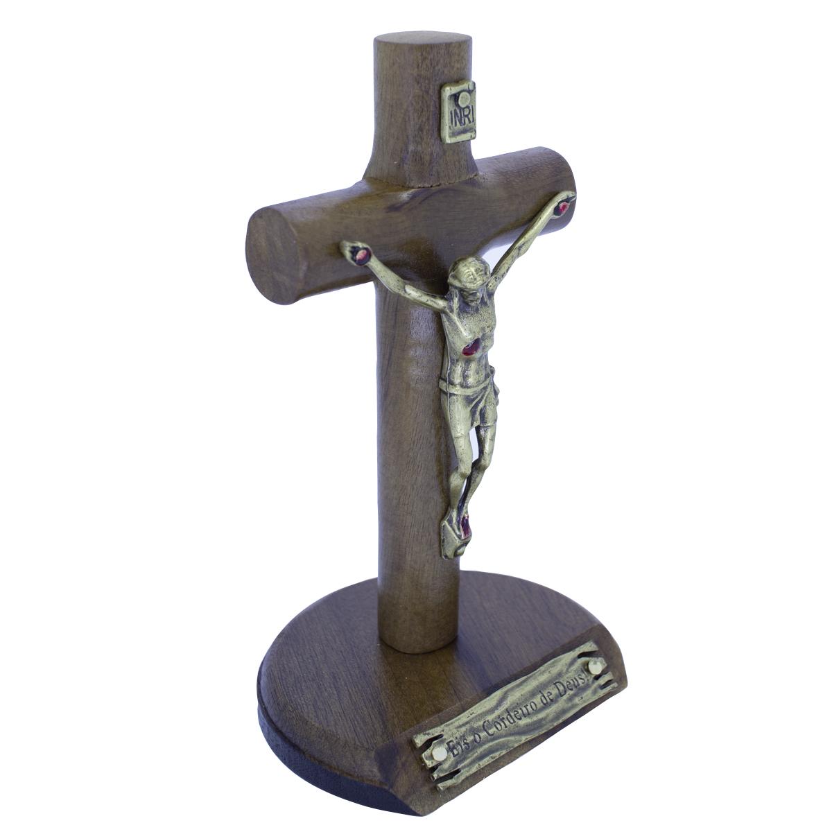 Crucifixo Madeira de Mesa - 12 cm OV