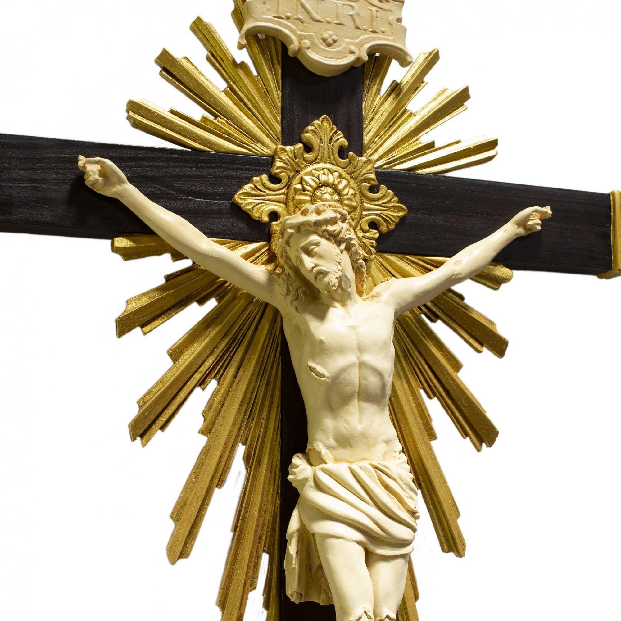 Crucifixo Madeira Imagem De Resina Cor Marfim 85cm Flor de Lis
