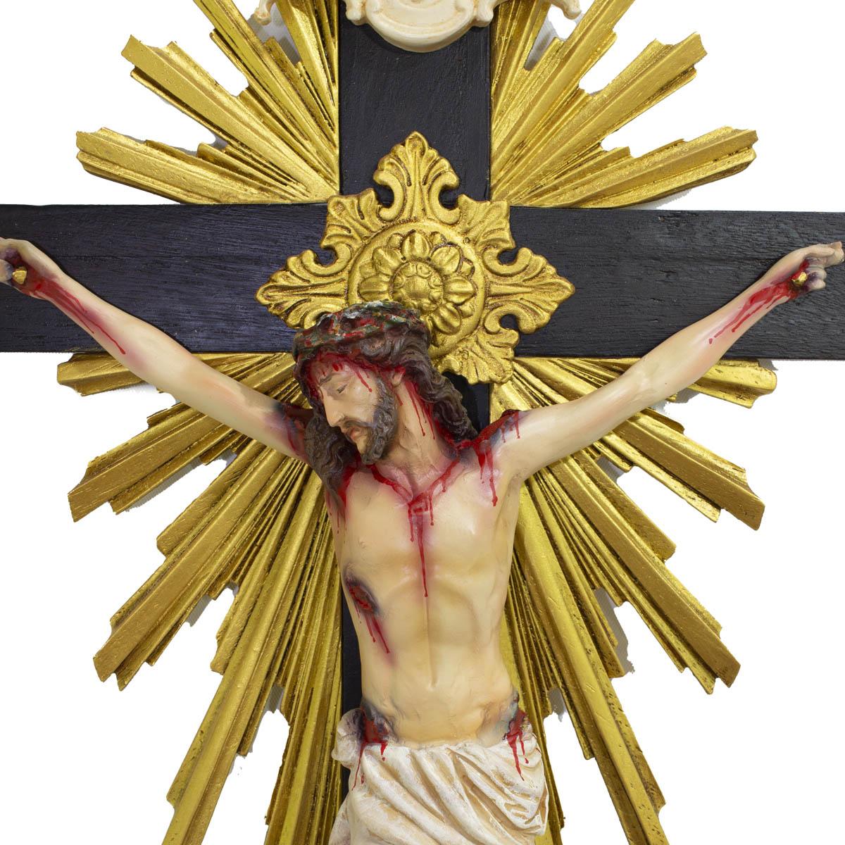 Crucifixo Madeira Imagem De Resina Policromado 85cm Flor de Lis