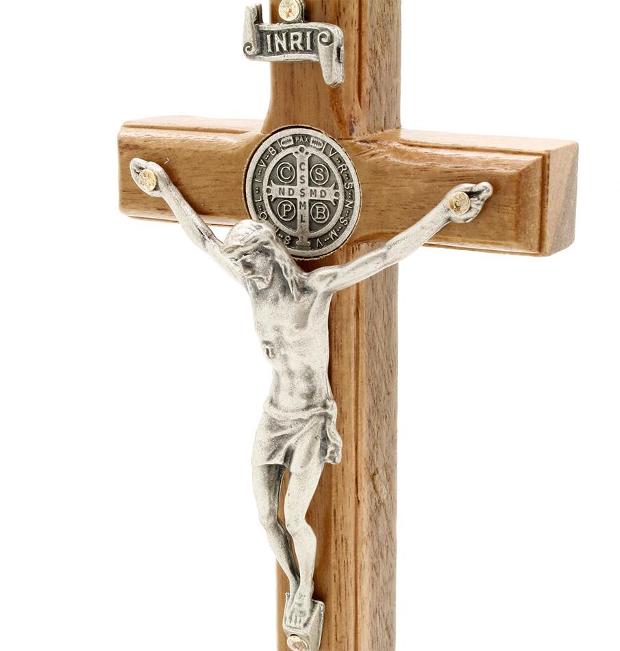 Crucifixo Madeira Medalha de São Bento - 12cm Prata Velha