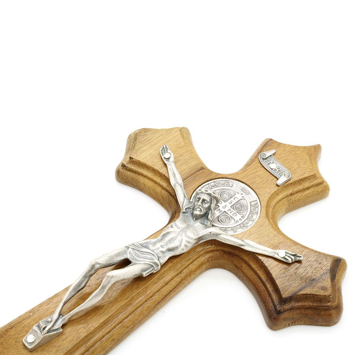 Crucifixo Madeira Medalha de São Bento - Parede 25cm