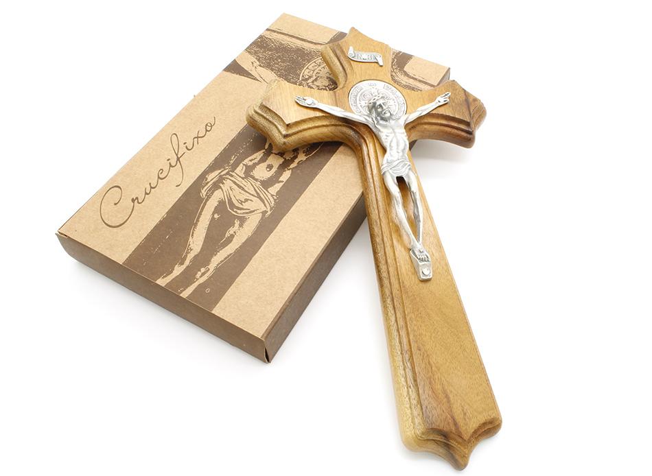 Crucifixo Madeira Medalha de São Bento - Parede 24cm