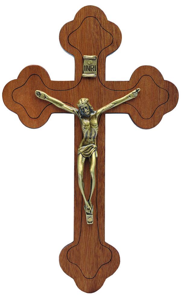 Crucifixo Madeira Moldado - parede - 19cm