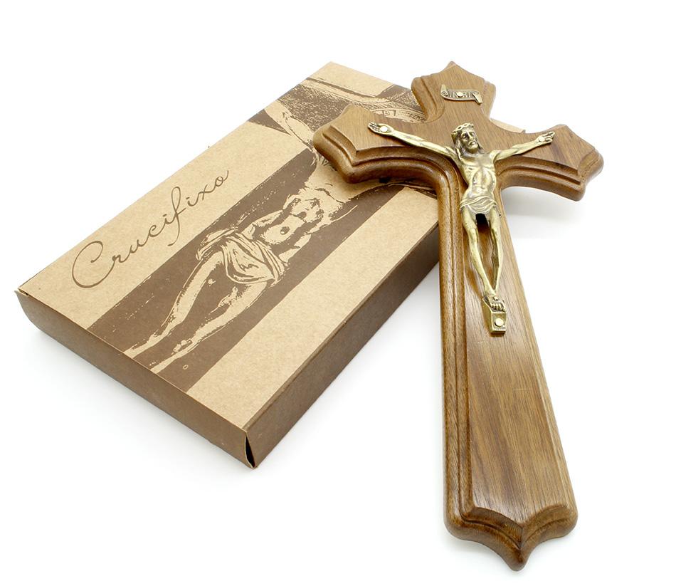 Crucifixo Madeira Ouro Velho - Parede 25 cm