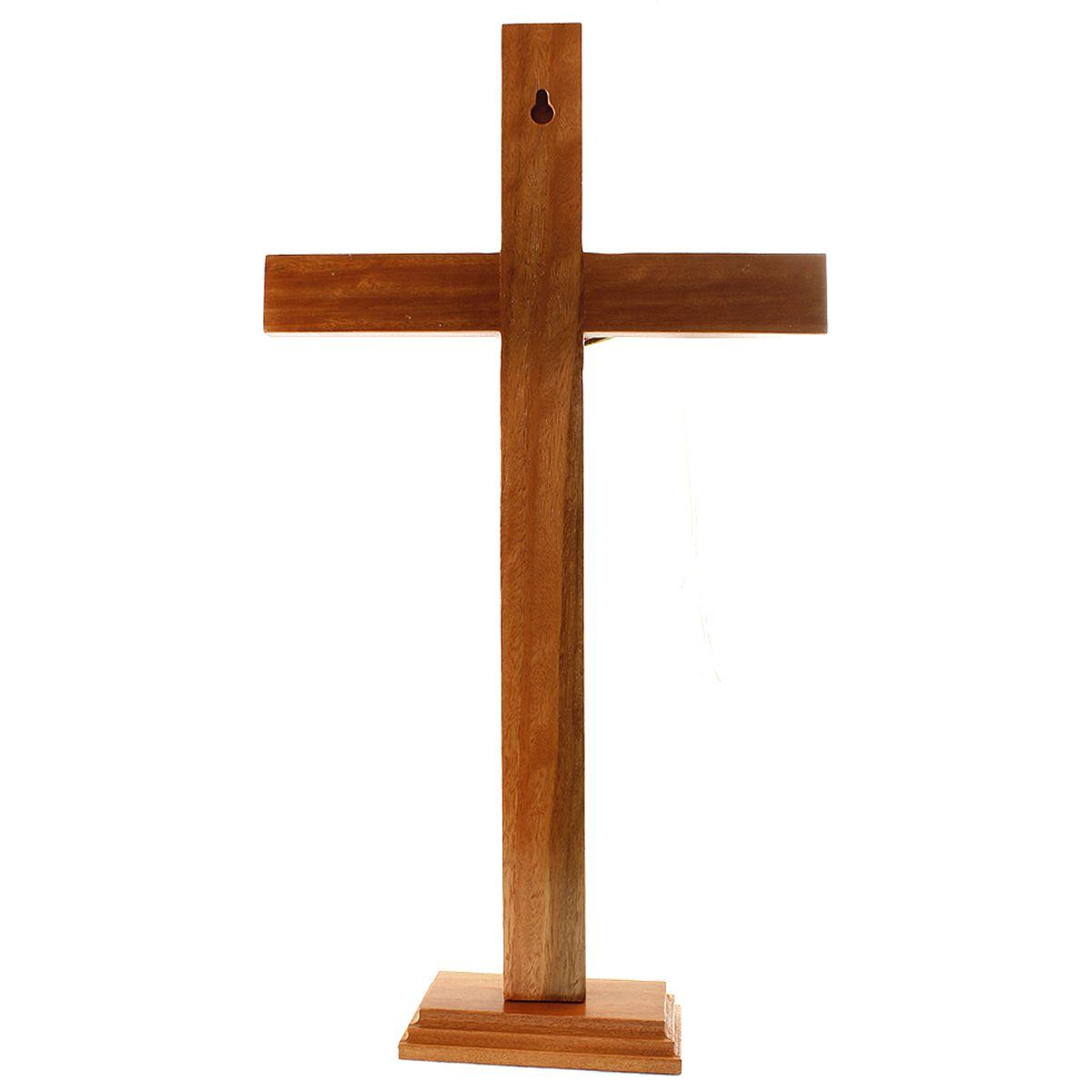 Crucifixo Madeira para parede ou mesa 40cm