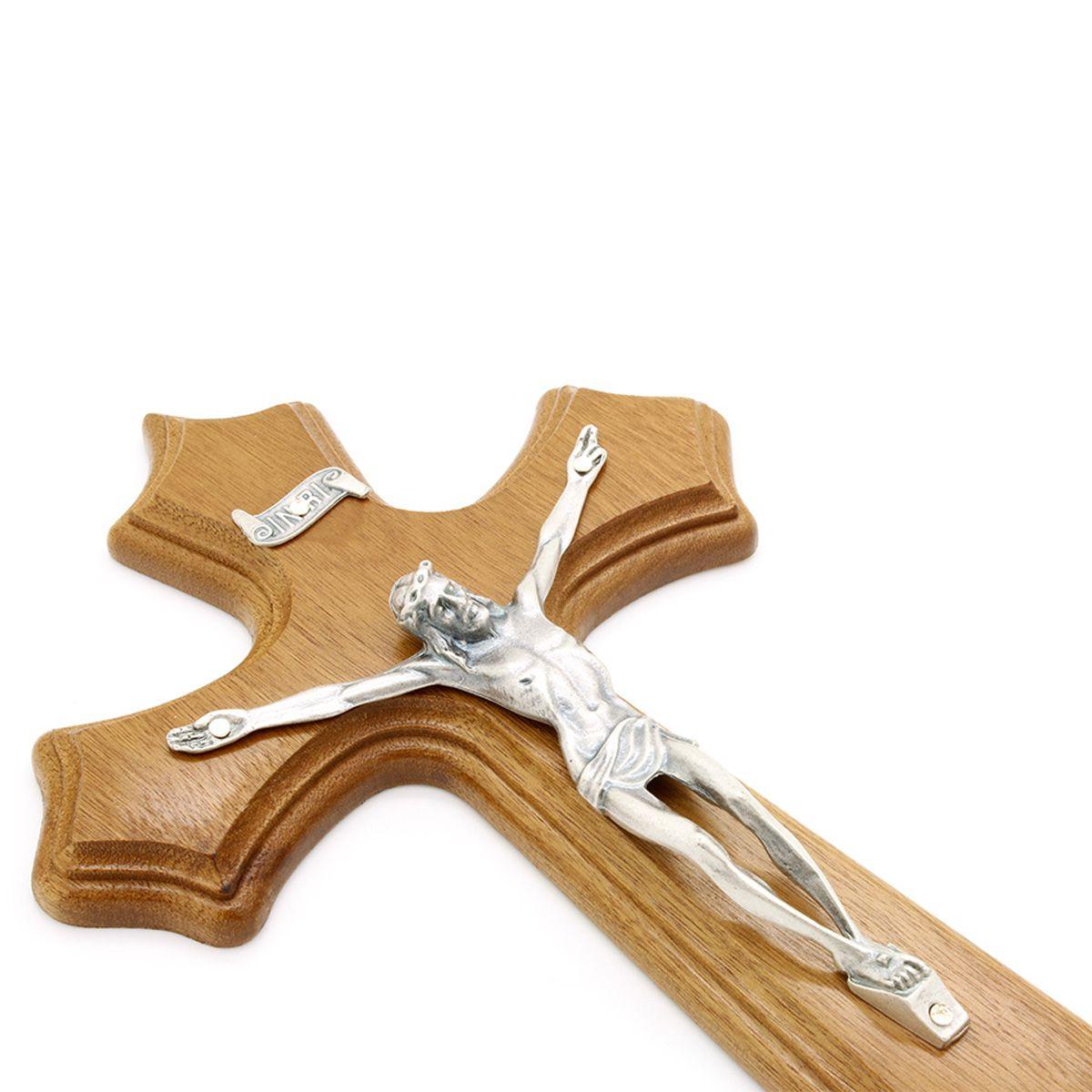 Crucifixo Madeira Prata Velha - Parede 25cm