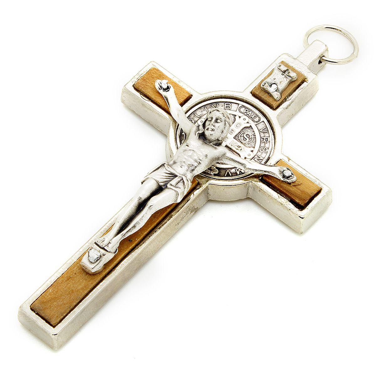 Crucifixo Metal e Madeira Oliva com Medalha de São Bento -  8cm