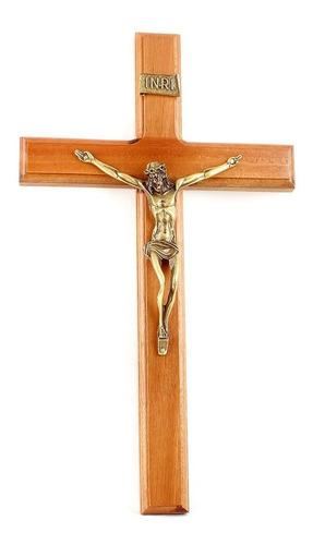 Crucifixo Parede Madeira Imagem Metal 35cm