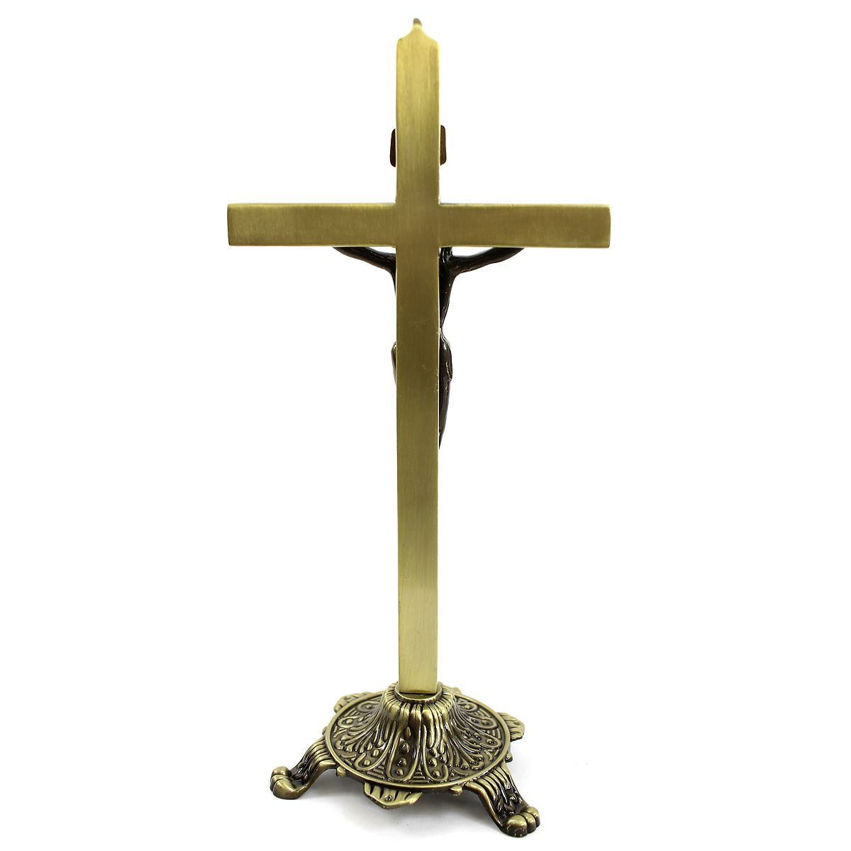Crucifixo Pedestal de Mesa em Metal 27 cm