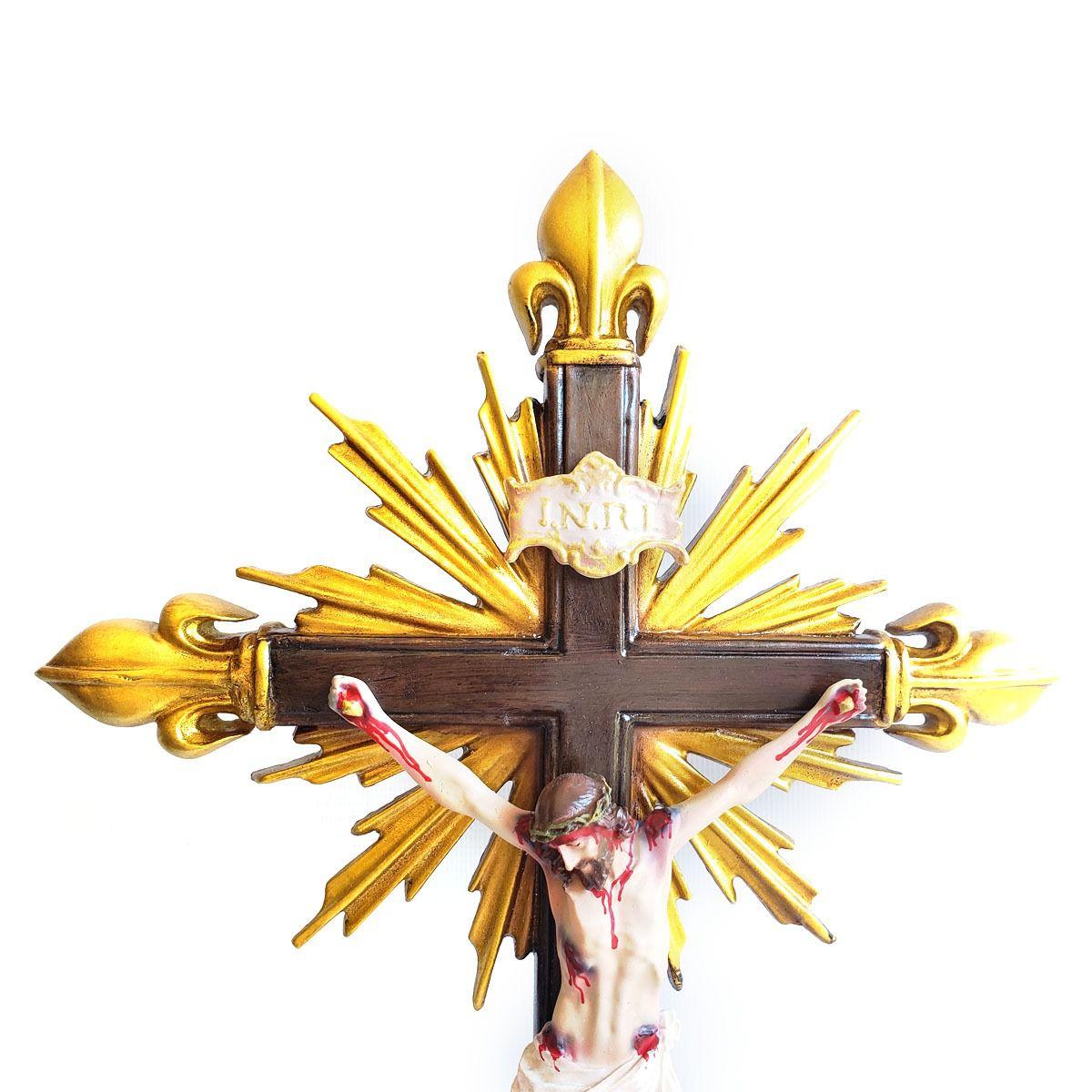 Crucifixo Pedestal de Mesa Resplendor C/ pontas Flor de Liz 45cm