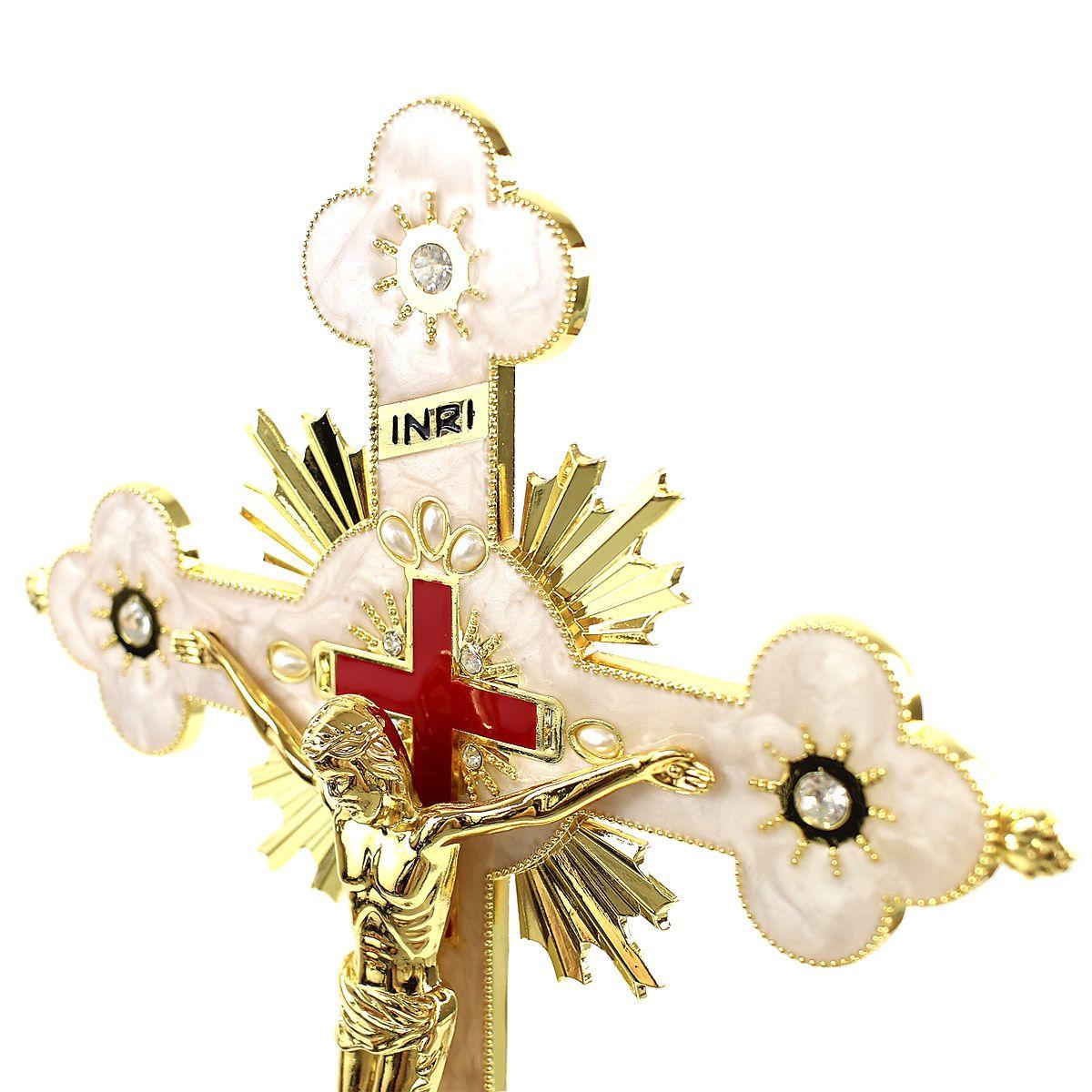 Crucifixo Pedestal de Mesa Trabalhado com Strass 35cm