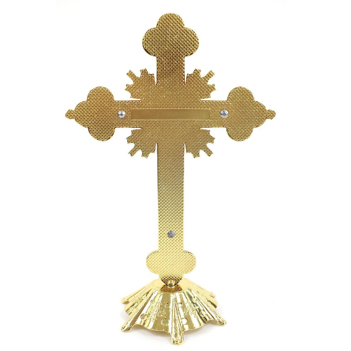 Crucifixo Pedestal Detalhes Com  Strass e Madrepérola 20CM