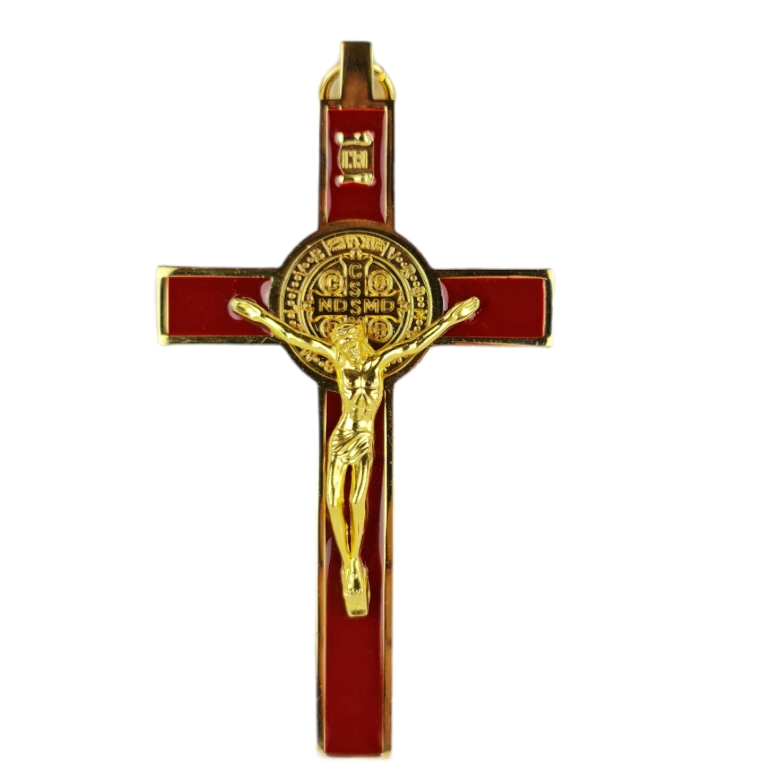 Crucifixo Pequeno de Pendurar Metal Medalha de São Bento 12 cm DR