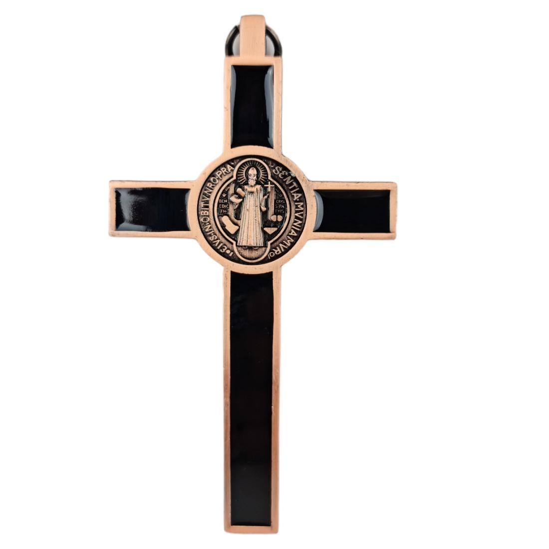 Crucifixo Pequeno de Pendurar Metal Medalha de São Bento 12cm