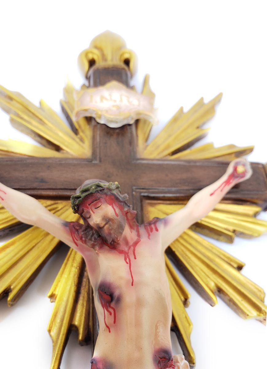 Crucifixo Resplendor C/ pontas Flor de Liz 38cm