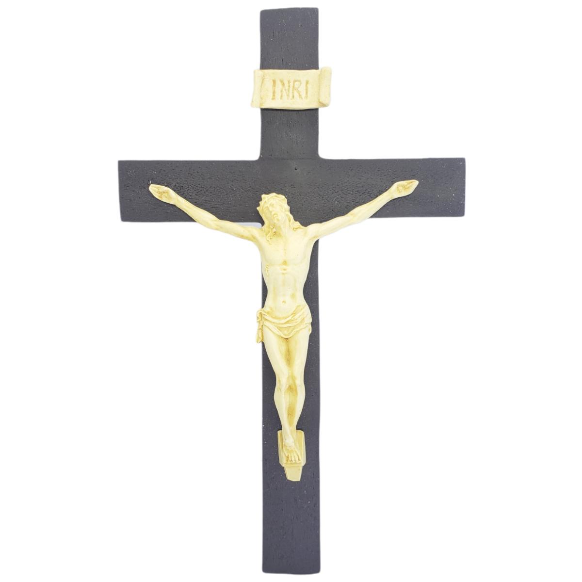 Crucifixo Tradicional 20cm Cruz De Madeira Imagem Resina Cor Marfim