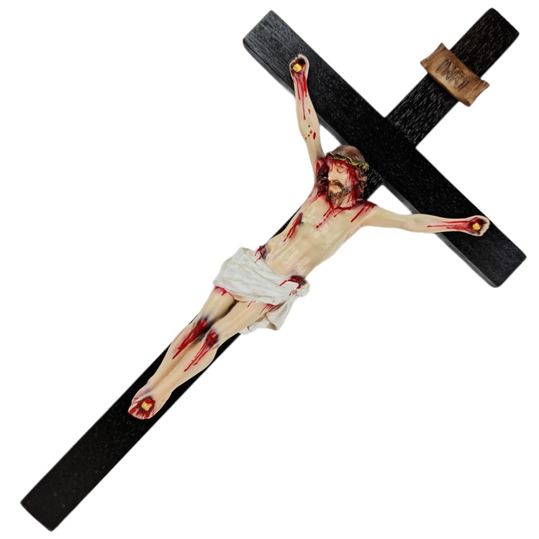 Crucifixo Tradicional 30cm Cruz De Madeira Imagem Resina Policromado