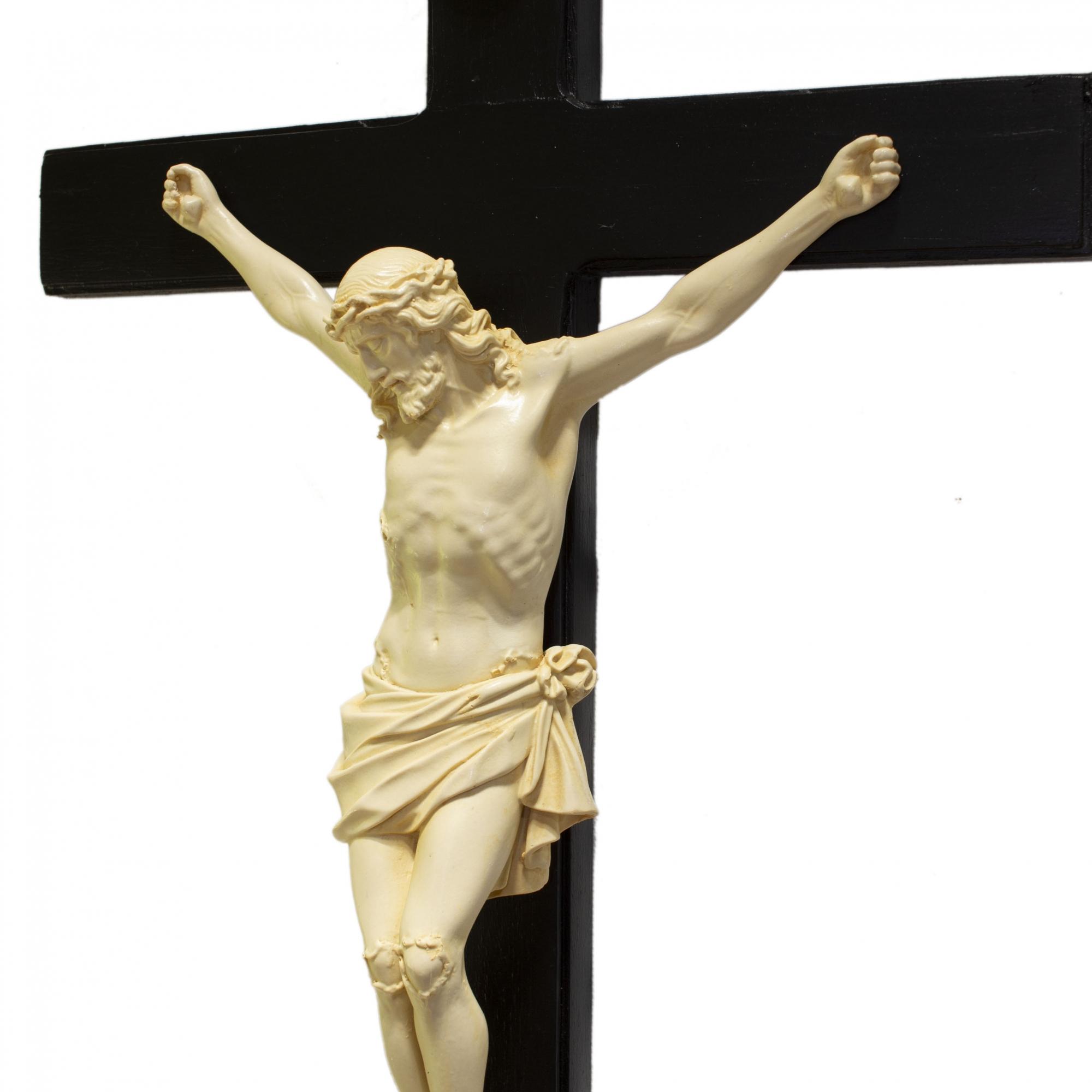 Crucifixo Tradicional 52cm Cruz De Madeira Imagem Resina Cor Marfim