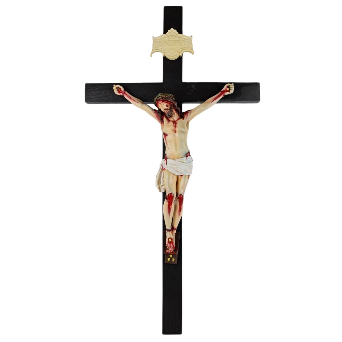 Crucifixo Tradicional Madeira Imagem De Resina Policromado 70cm