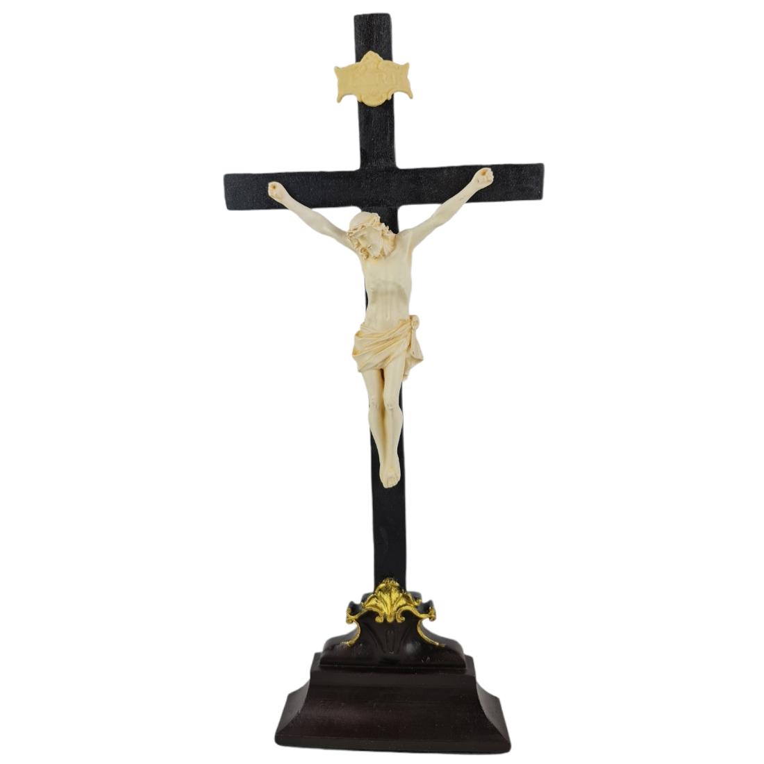 Crucifixo Tradicional Pedestal de Mesa 37cm Cristo Cor Marfim