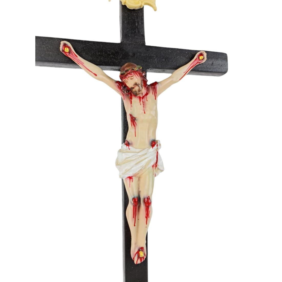 Crucifixo Tradicional Pedestal de Mesa 37cm Policromado