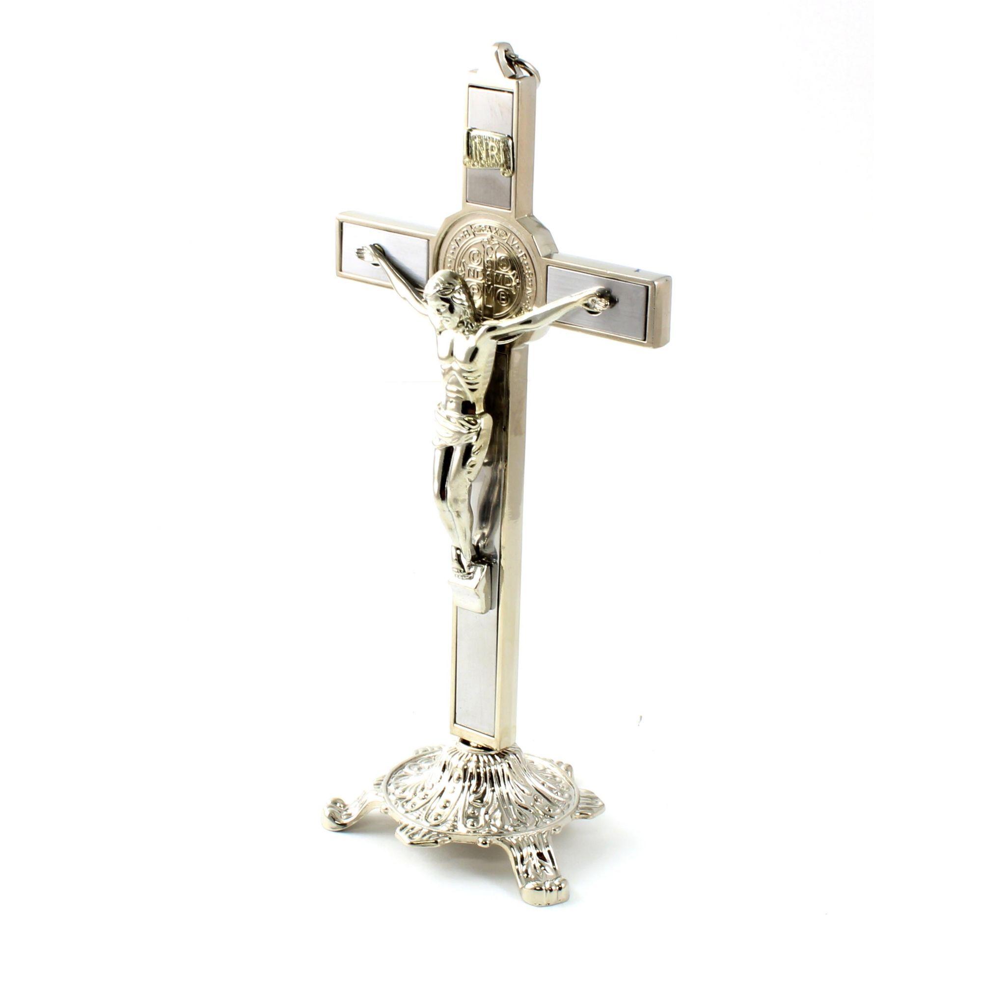 Crucifixo de Mesa e Parede com Medalha de São Bento de Metal 27 cm
