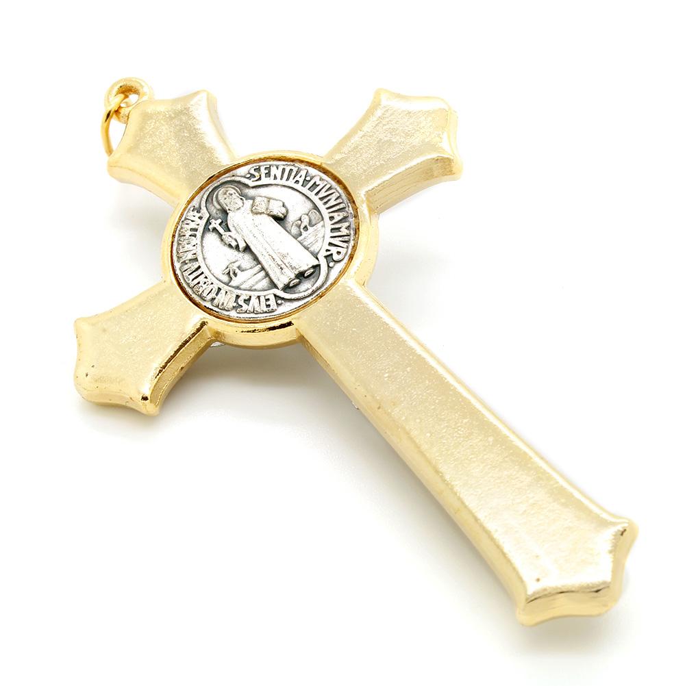 Cruz com medalha de São Bento - Detalhes Dourado Esmalte Preto 8cm