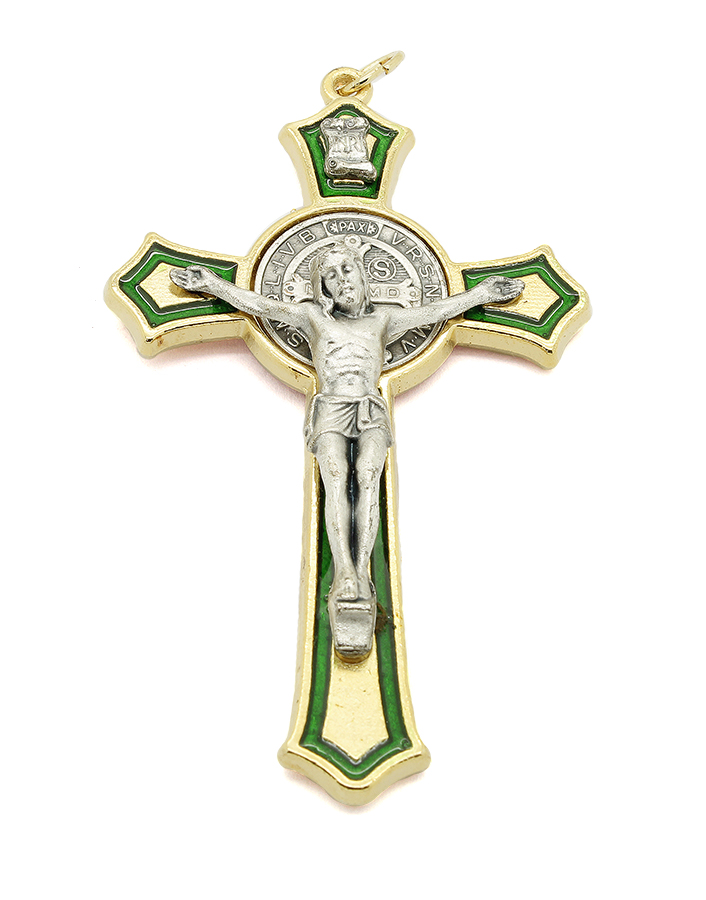 Cruz com medalha de São Bento - Detalhes Dourado Esmalte Verde 8cm