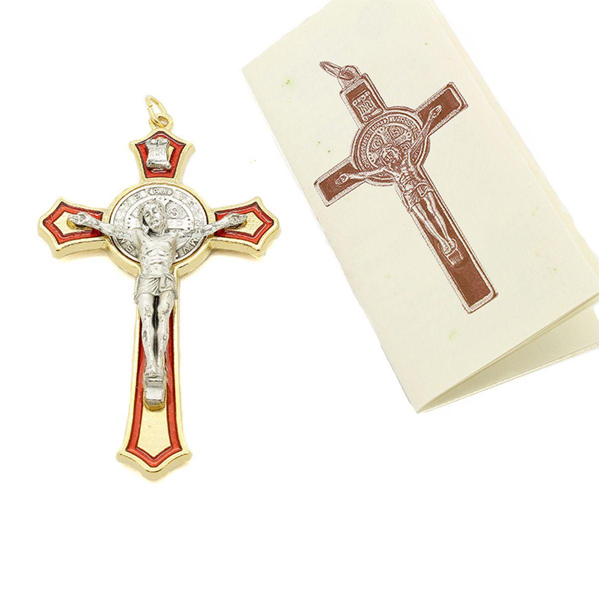 Cruz com medalha de São Bento - Detalhes Dourado Esmalte Vermelho 8cm