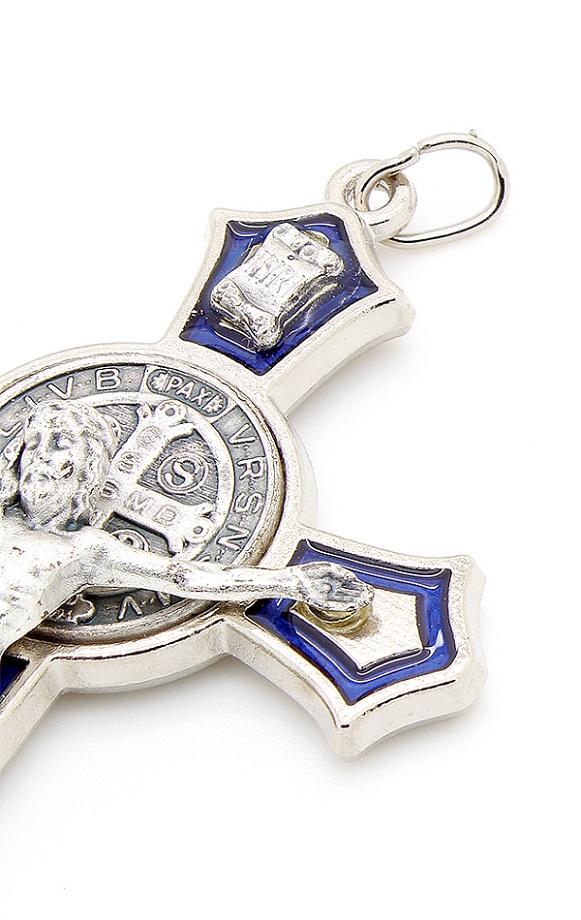 Cruz com medalha de São Bento - Detalhes Prateado e Esmalte Azul 8cm