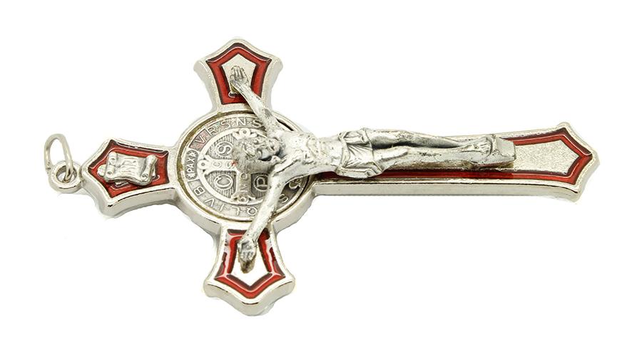 Cruz com medalha de São Bento - Detalhes Prateado e Esmalte Vermelho 8cm