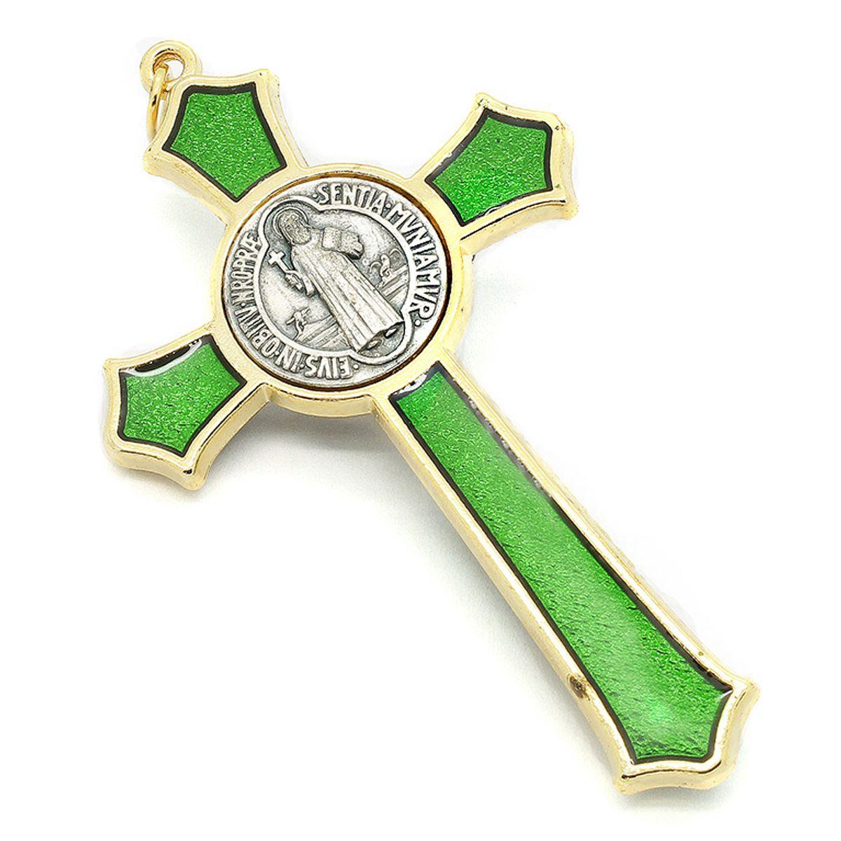 Cruz com medalha de São Bento - Dourada e Esmalte Verde 8cm