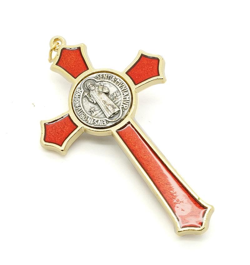 Cruz com medalha de São Bento - Dourada e Esmalte Vermelho 8cm