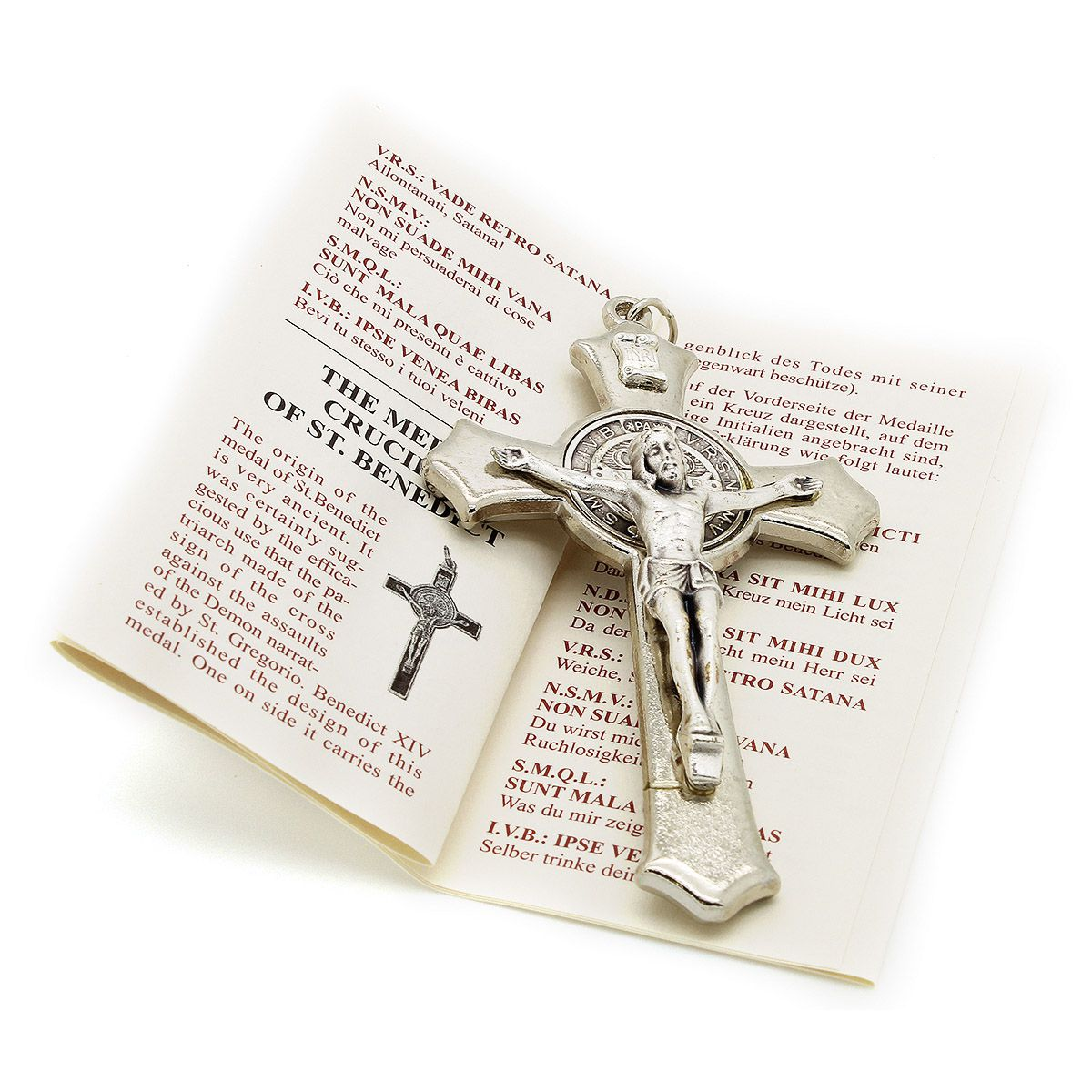 Cruz com medalha de São Bento - Prateada 8cm