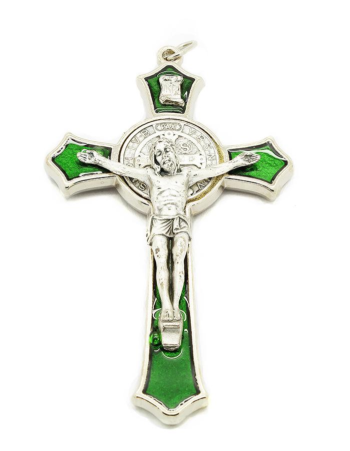 Cruz com medalha de São Bento - Prateada e Esmalte Verde 8cm