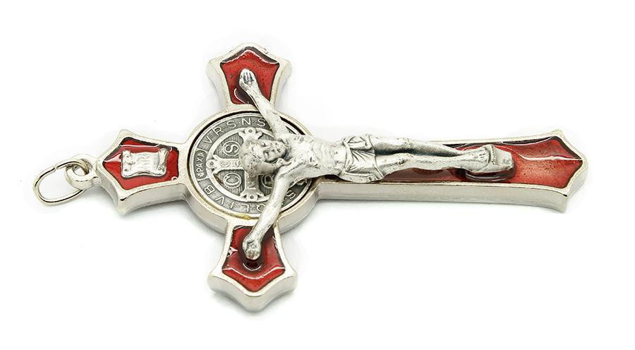 Cruz com medalha de São Bento - Prateada e Esmalte Vermelho 8cm
